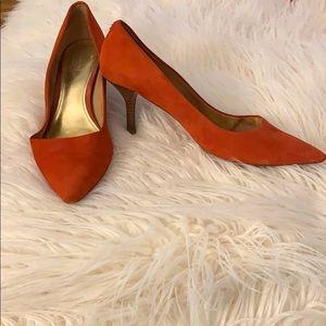 Coach Zoe Suede Vermillion Red Kitten Heel Size 9